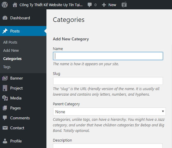 THÊM CATEGORIES CHO WORDPRESS